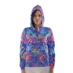 Flamingo pattern Hooded Wind Breaker (Women)