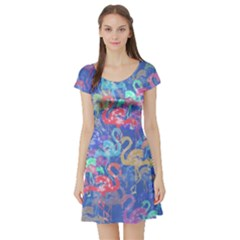 Flamingo pattern Short Sleeve Skater Dress