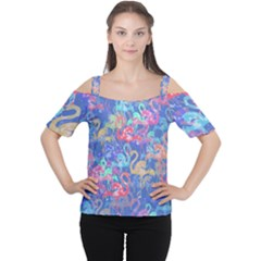 Flamingo pattern Women s Cutout Shoulder Tee