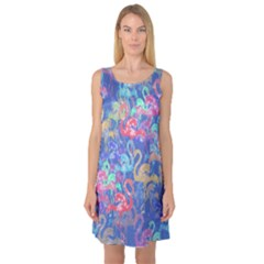 Flamingo pattern Sleeveless Satin Nightdress