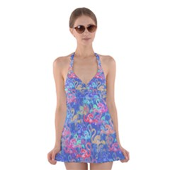 Flamingo pattern Halter Swimsuit Dress