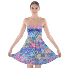 Flamingo pattern Strapless Bra Top Dress