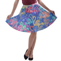 Flamingo pattern A-line Skater Skirt
