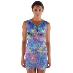 Flamingo pattern Wrap Front Bodycon Dress