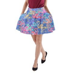 Flamingo pattern A-Line Pocket Skirt