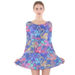 Flamingo pattern Long Sleeve Velvet Skater Dress