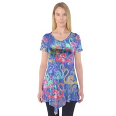 Flamingo pattern Short Sleeve Tunic