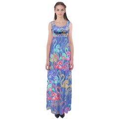 Flamingo pattern Empire Waist Maxi Dress