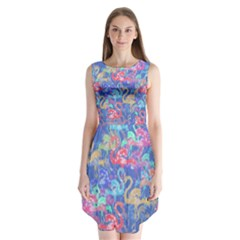 Flamingo pattern Sleeveless Chiffon Dress