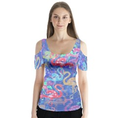 Flamingo pattern Butterfly Sleeve Cutout Tee