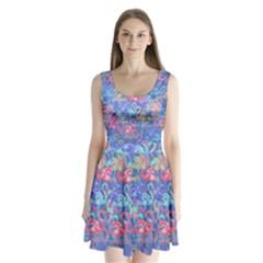 Flamingo pattern Split Back Mini Dress