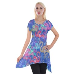 Flamingo pattern Short Sleeve Side Drop Tunic