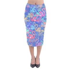 Flamingo pattern Velvet Midi Pencil Skirt