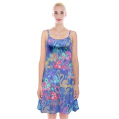 Flamingo pattern Spaghetti Strap Velvet Dress