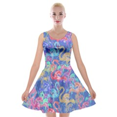 Flamingo pattern Velvet Skater Dress