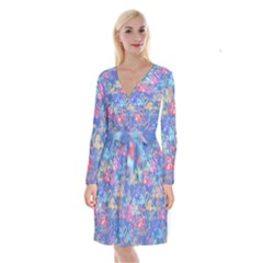 Flamingo pattern Long Sleeve Velvet Front Wrap Dress