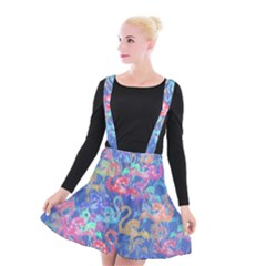 Flamingo pattern Suspender Skater Skirt
