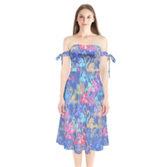 Flamingo pattern Shoulder Tie Bardot Midi Dress
