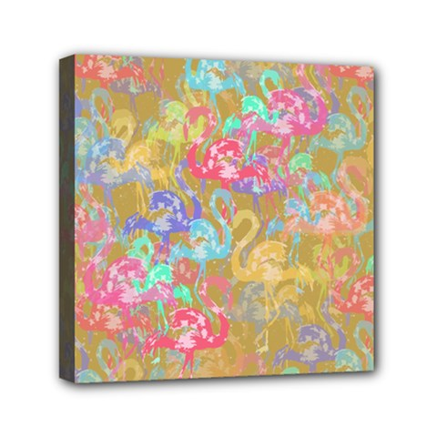 Flamingo pattern Mini Canvas 6  x 6
