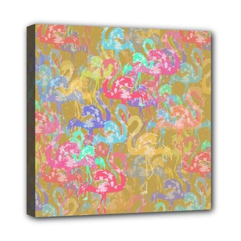Flamingo pattern Mini Canvas 8  x 8