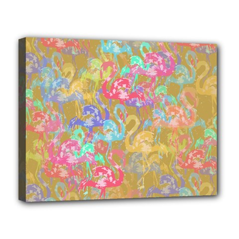 Flamingo pattern Canvas 14  x 11