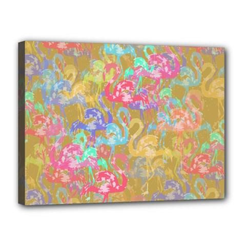 Flamingo pattern Canvas 16  x 12