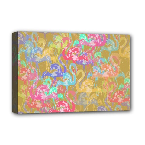 Flamingo pattern Deluxe Canvas 18  x 12