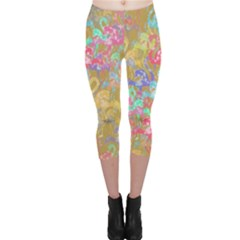 Flamingo pattern Capri Leggings