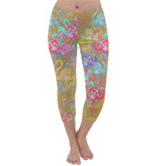 Flamingo pattern Capri Winter Leggings