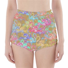 Flamingo pattern High-Waisted Bikini Bottoms