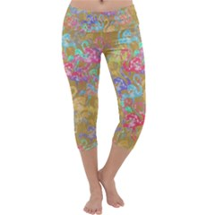 Flamingo pattern Capri Yoga Leggings