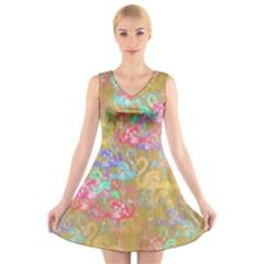 Flamingo pattern V-Neck Sleeveless Skater Dress