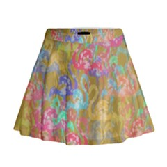 Flamingo pattern Mini Flare Skirt