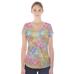 Flamingo pattern Short Sleeve Front Detail Top