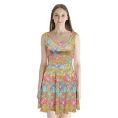 Flamingo pattern Split Back Mini Dress