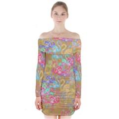 Flamingo pattern Long Sleeve Off Shoulder Dress