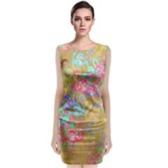 Flamingo pattern Sleeveless Velvet Midi Dress