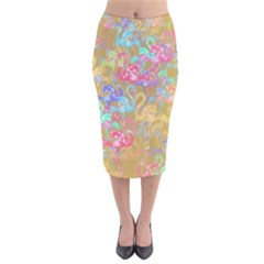 Flamingo pattern Velvet Midi Pencil Skirt