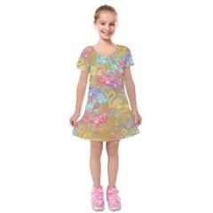 Flamingo pattern Kids  Short Sleeve Velvet Dress