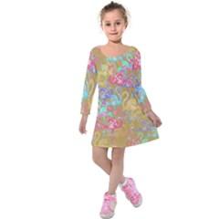 Flamingo pattern Kids  Long Sleeve Velvet Dress