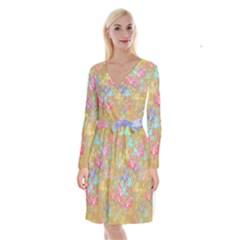 Flamingo pattern Long Sleeve Velvet Front Wrap Dress