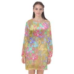 Flamingo pattern Long Sleeve Chiffon Shift Dress