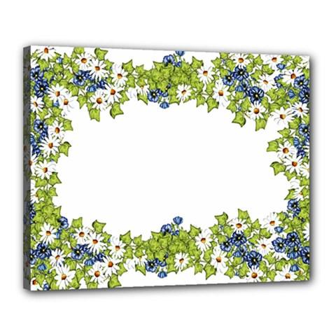 Birthday Card Flowers Daisies Ivy Canvas 20  x 16