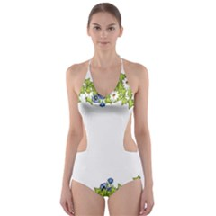 Birthday Card Flowers Daisies Ivy Cut-Out One Piece Swimsuit