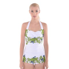 Birthday Card Flowers Daisies Ivy Boyleg Halter Swimsuit
