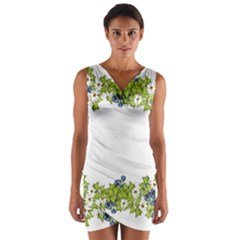 Birthday Card Flowers Daisies Ivy Wrap Front Bodycon Dress