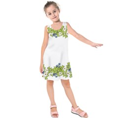 Birthday Card Flowers Daisies Ivy Kids  Sleeveless Dress