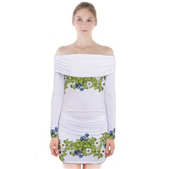 Birthday Card Flowers Daisies Ivy Long Sleeve Off Shoulder Dress