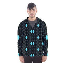 Blue Black Hexagon Dots Hooded Wind Breaker (men)