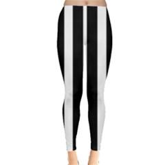 Black White Line Vertical Leggings